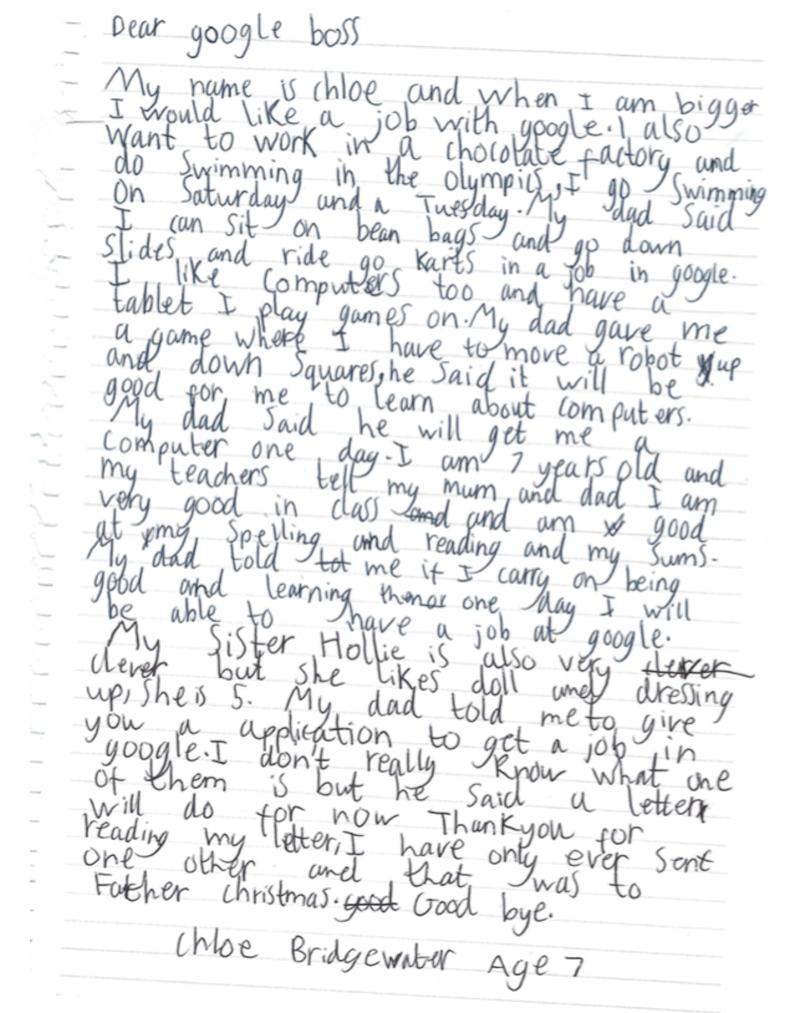 CEO Google ответил на просьбу 7-летней девочки взять ее на работу